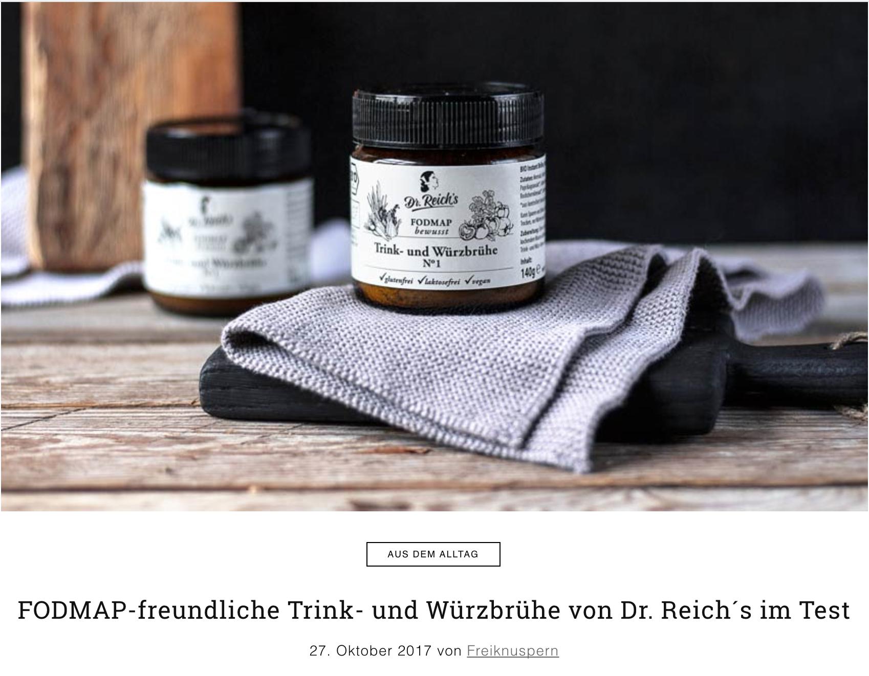 Dr Reichs Trink und Würzbrühe im Test auf Freiknuspern