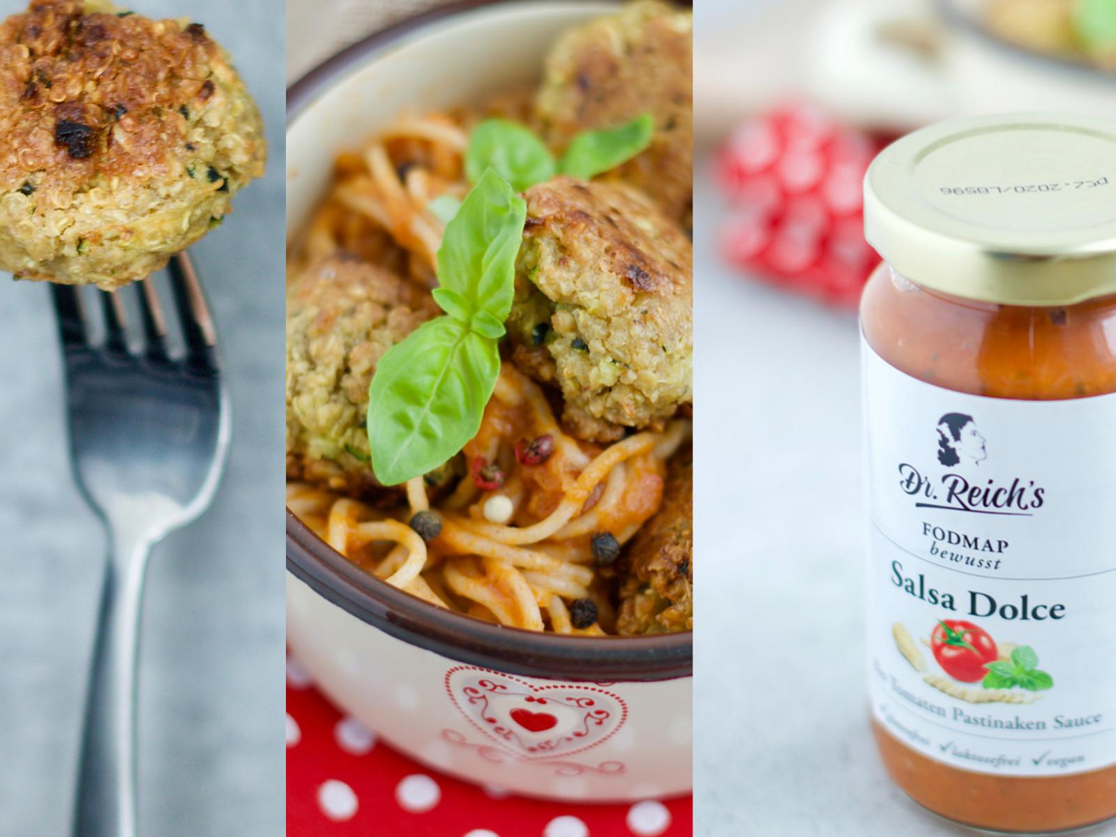 Spaghetti mit vegetarischen Meatballs gekocht und fotografiert von Dominika auf Bauchgeschichten mit Dr. Reich´s Brühe No. 1 und Dr. Reich´s Salsa Dolce.