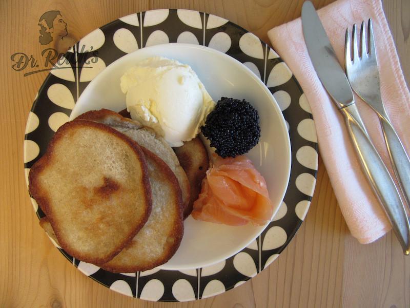 DrReichs FODMAP Pfannkuchen mit Lachs und Kaviar