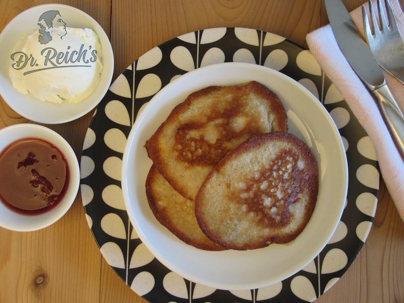 DrReichs FODMAP Pfannkuchen mit Marmelade und Frischkäse