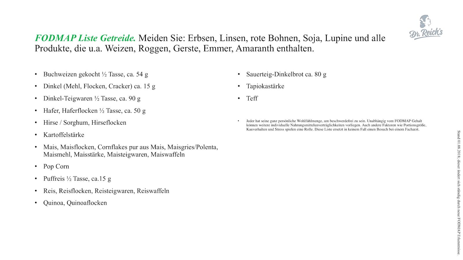 FODMAP Liste Getreide