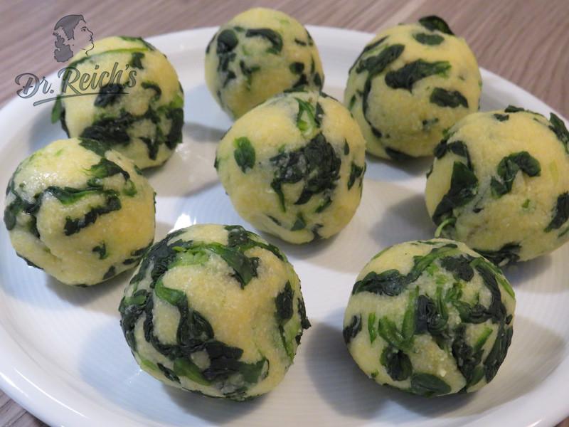 DrReichs FODMAP vegan Menu - die Vorspeise: Spinatknödel