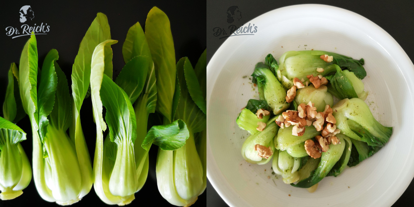 In Dr. Reich´s FODMAP Rezepte Blog finden sich jede Menge FODMAP Rezepte. Aber das hier geht so schnell, das ist im Nu fertig: Pak Choi blanchieren, mit Dr. Reich´s Würzbrühe würzen, ein paar Walnüssen dekorieren und mit Olivenöl beträufeln - fertig ist eine 3 Minuten HEALTHY FAST FODMAP Delikatesse.