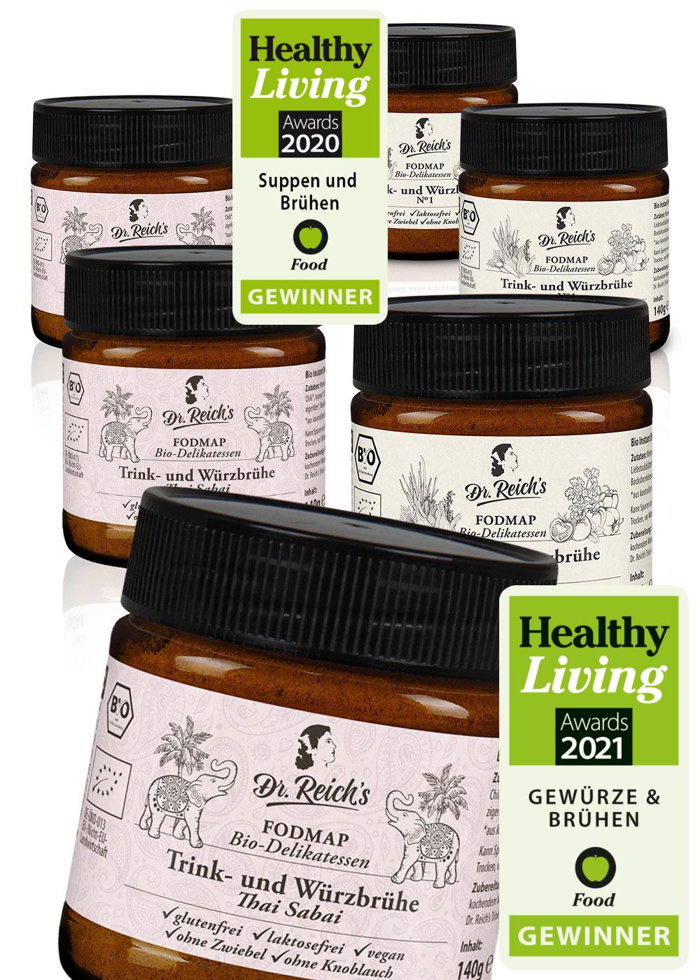 FODMAP Frei von Box mit dem Healthy Living Award 2020 und 2021 für Dr. Reich´s
