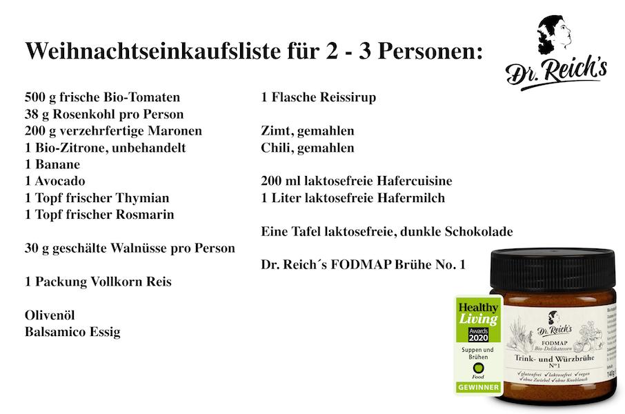 Weihnachten mit FODMAP Dr. Reich´s Einkaufsliste