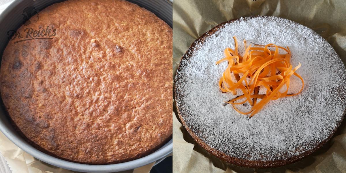 FODMAP Kuchen ohne Mehl - links undekoriert, rechts dekoriert