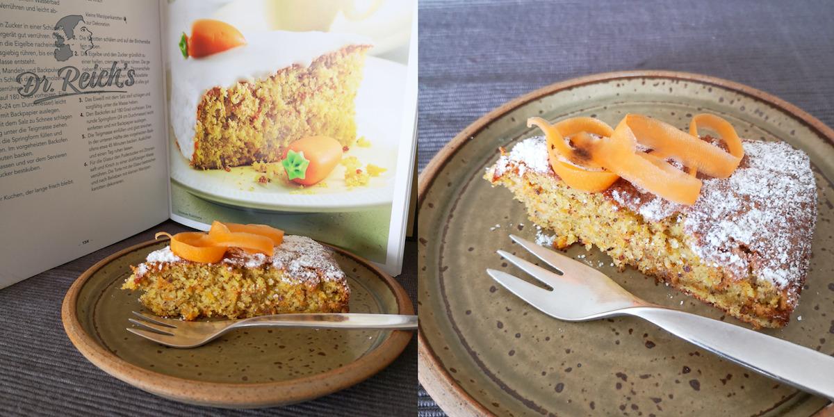 FODMAP Kuchen ohne Mehl - Dr. Reich´s Rüblitorte side by side mit Carine Buhmanns Original Schweizr Rüblitorte